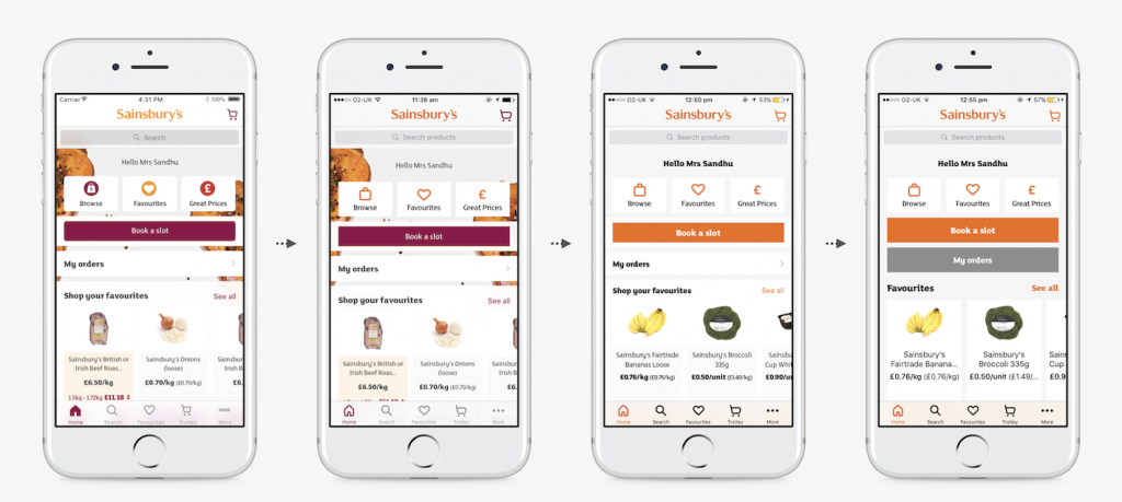 Sainsbury's App new design iterations