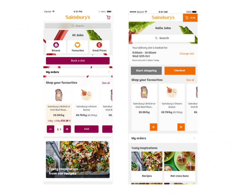 Sainsbury's Groceries App new design test
