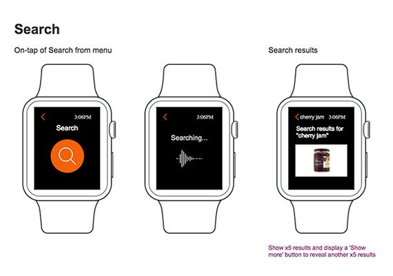 Sainsbury's Apple Watch App wireframes