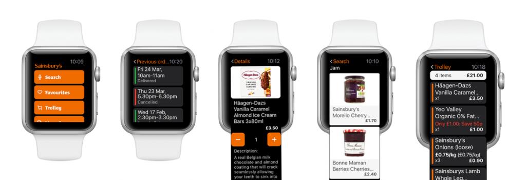 Sainsbury's Apple Watch App UI designs